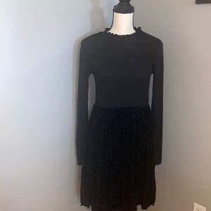 Girls Leopard Print Long Sleeve Velvet Dress